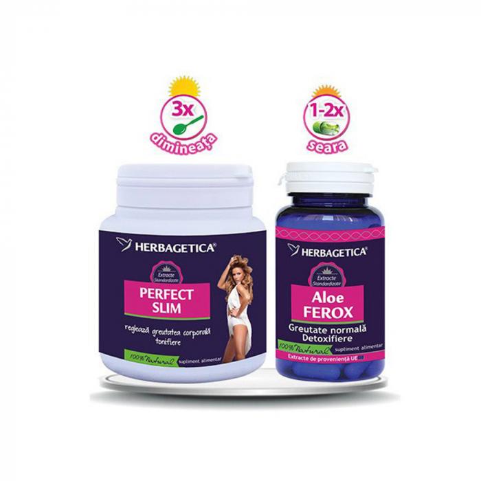 Pachet Perfect Slim 210 g + Aloe Ferox 30 cps #vara Herbagetica 0