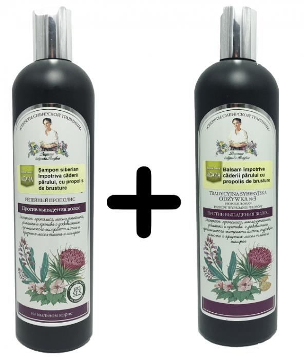 Sampon + Balsam Impotriva Caderii Parului cu Propolis de Brusture x 550 ml Bunica Agafia 0