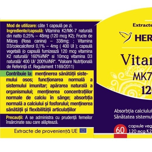 Vitamina K2 MK7 Naturala 30 cps Herbagetica 1