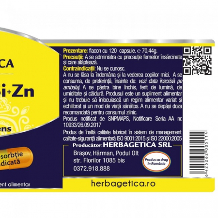 Ca+Mg+Se+Si+Zn cu Vit D3 Complex Forte 60 cps Herbagetica1