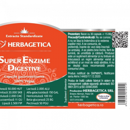 Super Enzime Digestive 30 cps Herbagetica -10%2