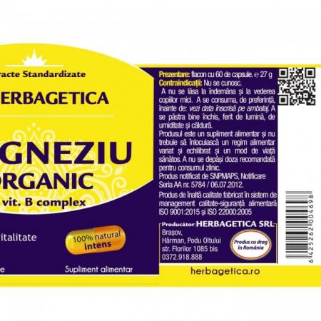 Magneziu Organic 120 cps Herbagetica [2]