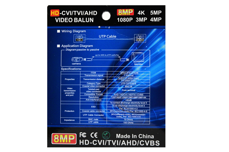 Video balun 8MP   HD-CVI/TVI/AHD/CVBS [4]