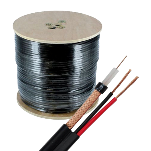 Cablu coaxial RG6 + alimentare 2x0.75 - rola 305m negru [0]
