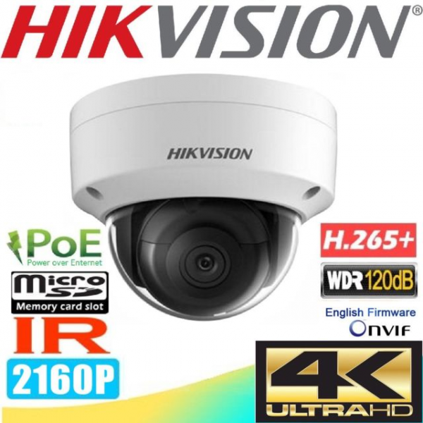 Camera IP Hikvision 8 MP, IR 30m, intrare/iesire audio, H265+, PoE, DS-2CD2185FWD-IS [0]