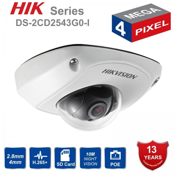 Camera supraveghere video  IP dome Hikvision 4MP DS-2CD2543G0-I,  2.8mm, IR 10m, IP 66, H.265+, PoE, slot card [0]