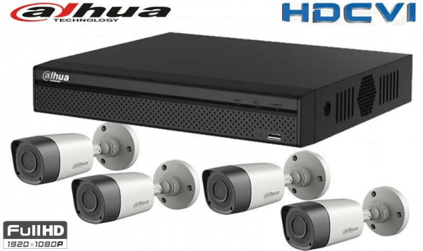 Kit 4 camere supraveghere exterior DAHUA full hd cu XVR DAHUA 1080P 4 canale [0]