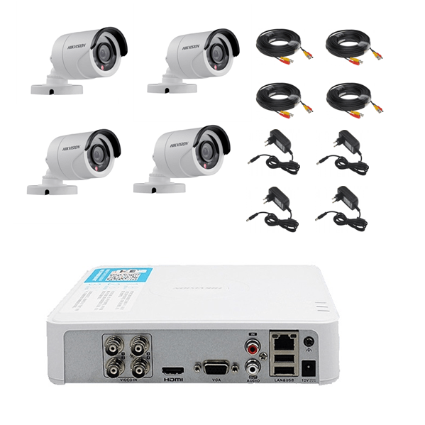 Kit complet 4 camere supraveghere exterior Hikvision Turbo HD [0]