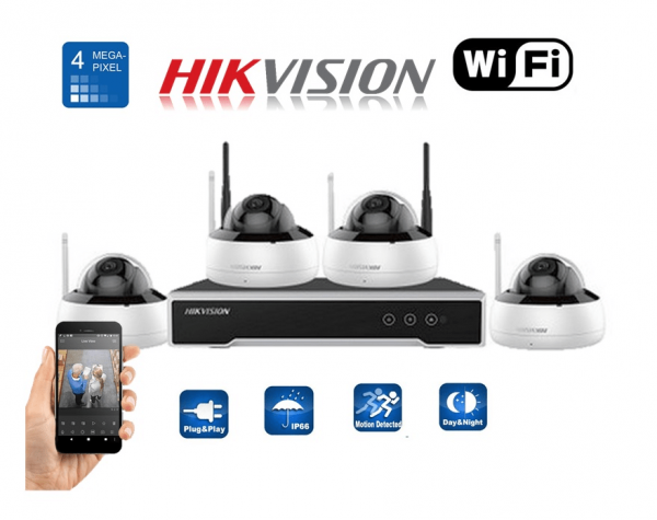 Kit complet camere ip wireless interior 4 MP Hikvision cu hdd 1TB WD gata configurat [3]