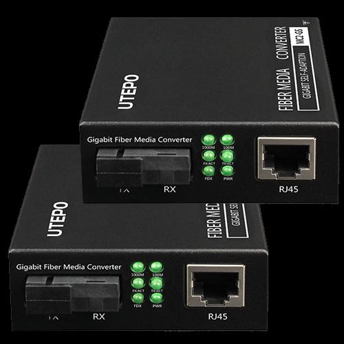 KIT RX/TX mediaconvertor Gigabit'SM fiber 25KM'conector SC - UTEPO MC2-GS [0]