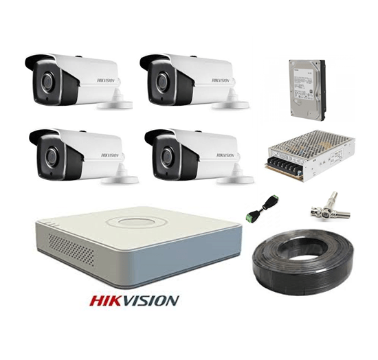 Kit sistem profesional 4 camere supraveghere FULL HD 40 m IR HIKVISION complet, lentila 2.8mm+ accesorii +hard 1TB+CADOU UPS WELL [0]