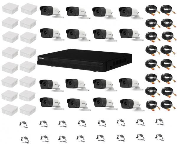 Kit sistem supraveghere complet 16 camere  Hikvision  2MP IR 80m cu DVR Dahua Pentabrid full hd [0]