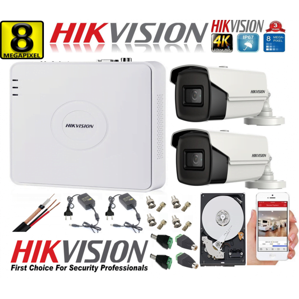 Kit supraveghere ultraprofesional Hikvision 2 camere 8MP 4K, 80 IR, DVR 4 canale, accesorii incluse si HDD [0]