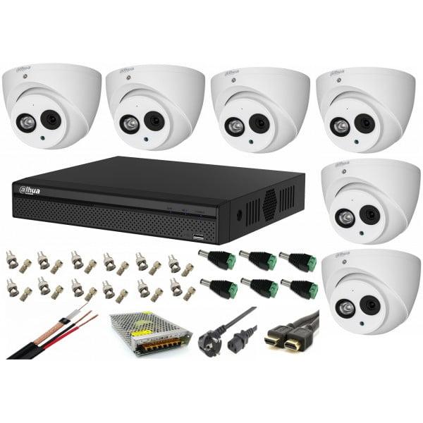 Kit supraveghere video 6 camere Dahua Dome HDCVI 2MP cu IR 50 cu toate  accesoriile, soft internet, microfon, difuzor [0]