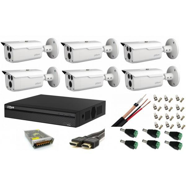 Kit supraveghere video exterior cu 6 camere Dahua 2MP HDCVI IR 80m, full  accesorii, soft vizualizare internet gratuit [0]