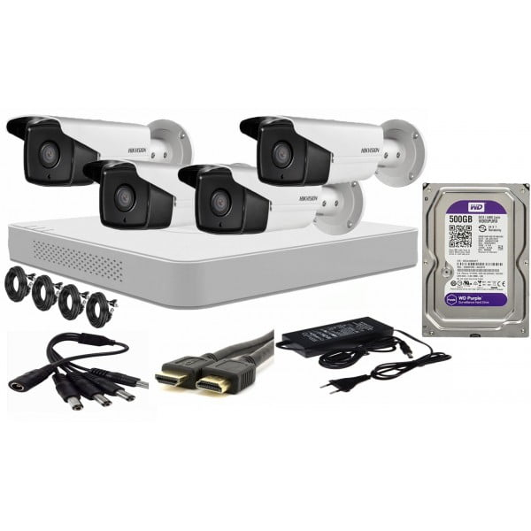 Kit supraveghere video Hikvision 4 camere 2MP FULLHD 1080p IR 40m  + accesorii instalare , HDD 500GB [0]