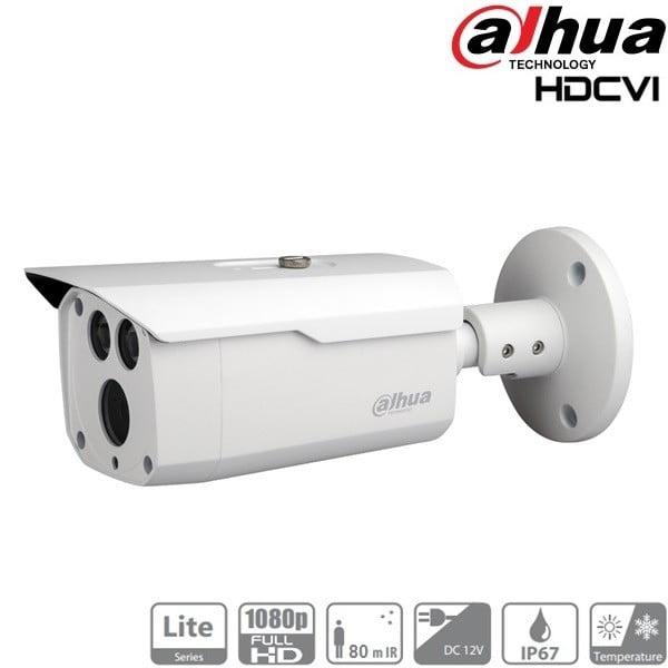 Kit supraveghere video pentru exterior  cu  4 camere Dahua 2MP HDCVI IR 80m IP66 , soft internet [1]