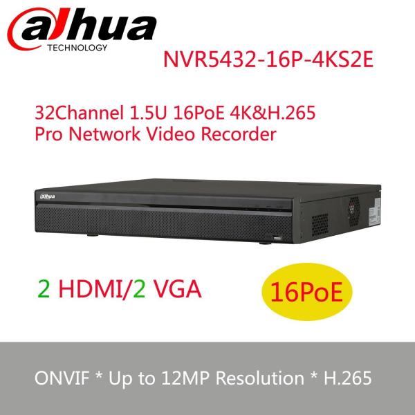 NVR DAHUA 4K, NVR5432-16P-4KS2E, 320Mbps, 32 canale IP, 16 porturi PoE [0]