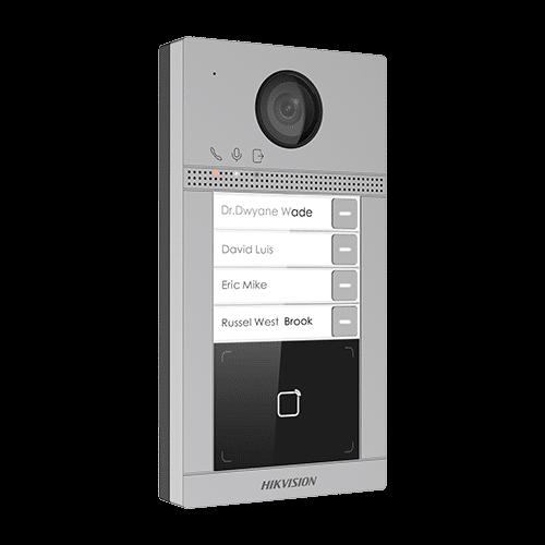 Panou exterior videointerfon TCP/IP pentru 4 familii'Wi-Fi 2.4GHz'control acces integrat - HIKVISION DS-KV8413-WME1 [0]