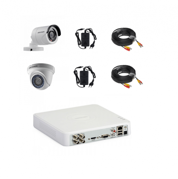 Sistem camere supraveghere video mixt complet 2 camere Hikvision full hd cu IR 20 m plug and play, DVR 4 canale, accesorii [0]