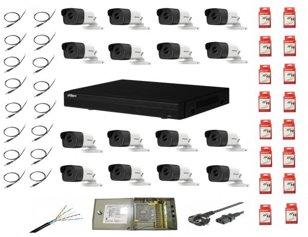 Sistem supraveghere complet 16 camere  Hikvision  2MP IR 40m cu DVR Dahua Pentabrid full hd [0]