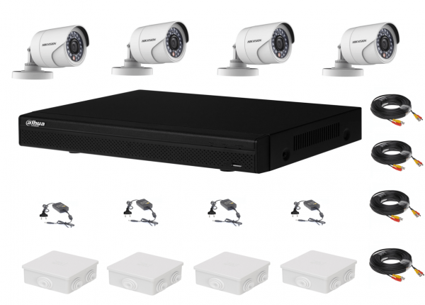 Sistem supraveghere complet 4 camere  Hikvision  2MP IR 20m, DVR Dahua Pentabrid FULL HD, accesorii [0]