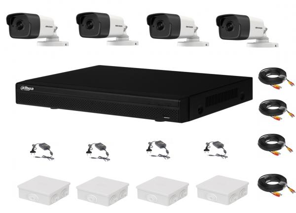 Sistem supraveghere complet 4 camere Hikvision 2MP IR 40m, DVR Dahua Pentabrid FULL HD, accesorii [0]