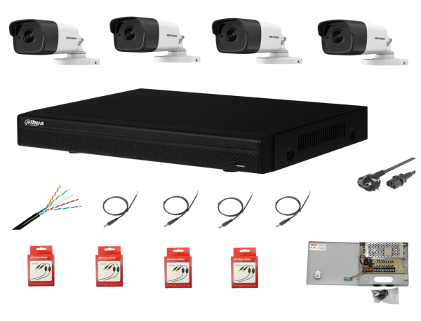 Sistem supraveghere complet 4 camere  Hikvision 2MP IR 80m cu DVR Dahua Pentabrid FULL HD, accesorii [0]