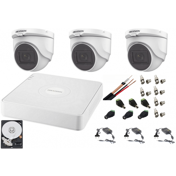 Sistem supraveghere interior  audio-video Hikvision 3 camere Turbo HD 2MP DVR 4 canale, HDD 500GB [0]