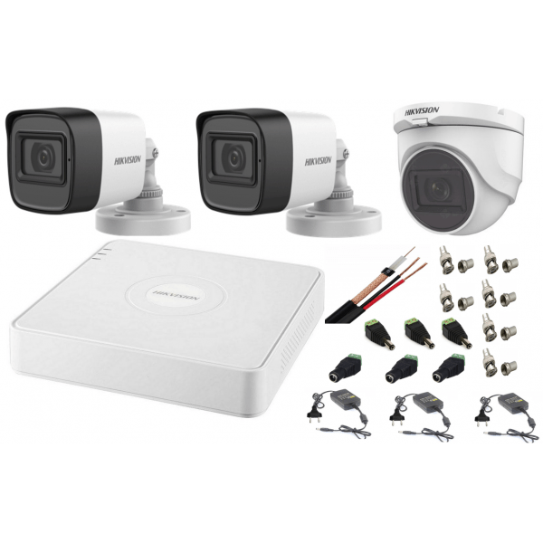 Sistem supraveghere mixt audio-video Hikvision 3 camere Turbo HD 2MP DVR 4 canale [0]