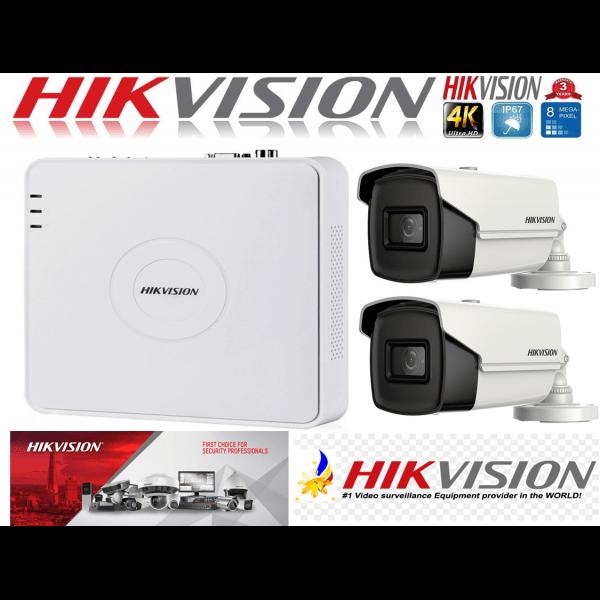 Sistem supraveghere ultraprofesional Hikvision  2 camere 8MP 4K, 80 IR, DVR 4 canale [0]