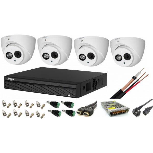 Sistem supraveghere video 4 camere Dahua Dome HDCVI 2MP cu IR 50 cu toate accesoriile, soft internet, microfon, difuzor [0]