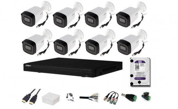 Sistem supraveghere video complet 8 camere exterior Dahua 2MP IR 80m Starlight, microfon, CADOU HDD 2TB + cablu HDMI [0]