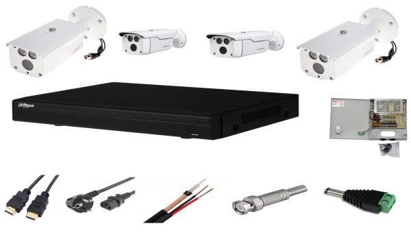 Sistem supraveghere video complet de exterior 4 camere Dahua 2MP Starlight IR 80m, CADOU cablu HDMI [0]