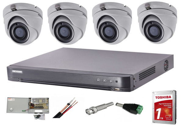 Sistem supraveghere video interior complet Hikvision 4 camere Turbo HD 5 MP 20 m IR accesorii incluse, cadou HDD 1tb [0]