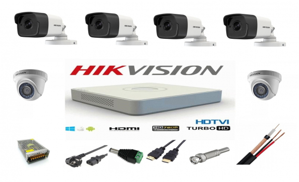 Sistem supraveghere video mixt complet 6 camere Turbo HD Hikvision 4 exterior IR40M  2 interior, DVR 8 canale, full accesorii, live internet [0]