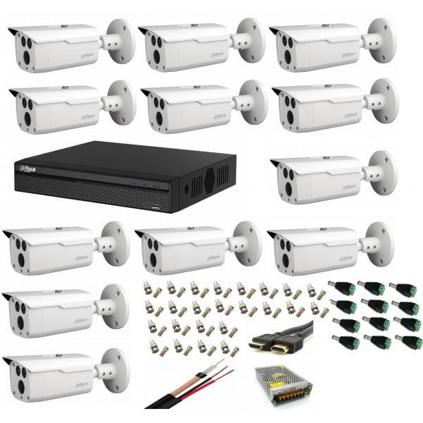 Sistem supraveghere video profesional cu 12 camere Dahua 2MP HDCVI IR 80m ,cu toate accesoriile  ,live internet [0]