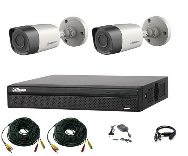 Sistem supraveghere video profesional Dahua exterior 2 camere 2MP Smart  IR20m cu DVR DAHUA 4 canale, live internet [0]