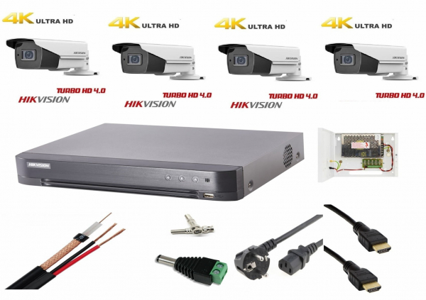 Sistem supraveghere video ultra profesional Hikvision 4 camere Ultra HD  8MP 4K, DVR 4 canale, full accesorii, live internet [0]