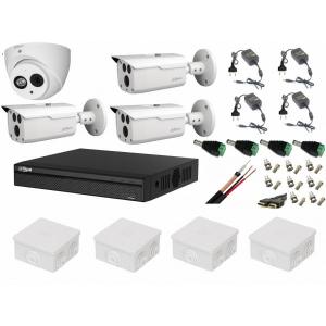 Kit supraveghere video mixt 4 camere Dahua 3 exterior HDCVI 2MP cu IR 80 m si 1 interior IR50m cu accesorii, soft internet [0]