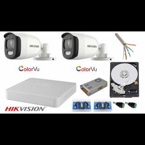 Sistem supraveghere 2 camere 5MP Ultra HD Color VU full time ( color noaptea ), DVR 4 canale, accesorii montaj [0]