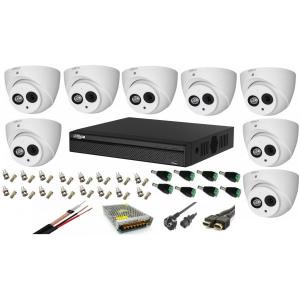 Sistem supraveghere 8 camere Dahua Dome HDCVI 2MP cu IR 50 cu toate accesoriile, soft internet, microfon, difuzor [0]