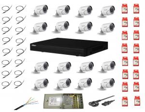 Sistem supraveghere complet 16 camere Hikvision 2MP IR 20m cu DVR Dahua Pentabrid full hd [0]