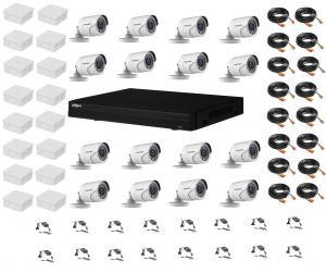 Sistem supraveghere complet 16 camere Hikvision 2MP IR 20m, DVR Dahua Pentabrid FULL HD, accesorii [0]