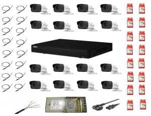 Sistem supraveghere complet 16 camere  Hikvision  2MP IR 80m cu DVR Dahua Pentabrid full hd [0]