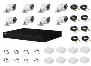 Sistem supraveghere complet 8 camere Hikvision 2MP IR 20m, DVR Dahua Pentabrid FULL HD, accesorii [0]
