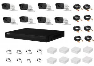 Sistem supraveghere complet 8 camere  Hikvision  2MP IR 40m, DVR Dahua Pentabrid FULL HD, accesorii [0]