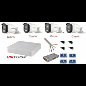 Sistem supraveghere Hikvision 4 camere 5MP Ultra HD Color VU full time ( color noaptea ) [0]