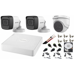 Sistem supraveghere mixt audio-video Hikvision 3 camere Turbo HD 2MP DVR 4 canale, HDD 500GB [0]