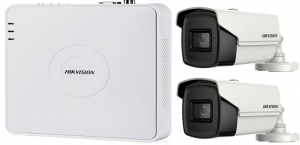 Sistem supraveghere ultraprofesional Hikvision  2 camere 8MP 4K, 80 IR, DVR 4 canale [1]